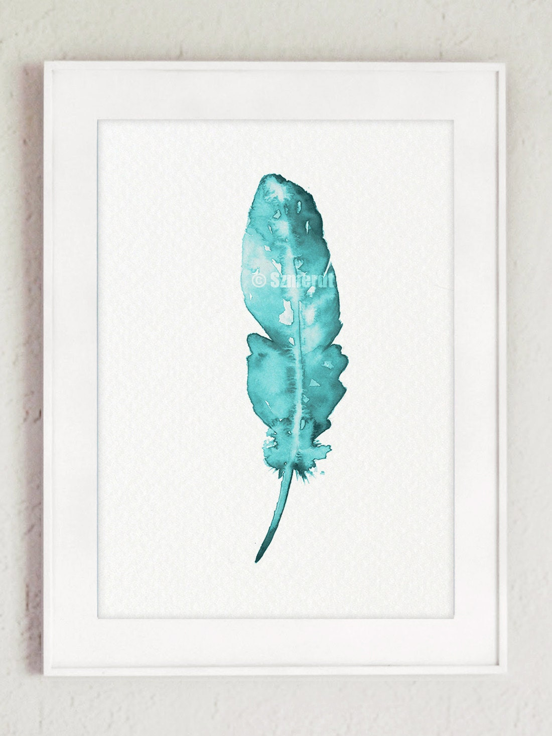 Minimalist Wall Decor Of Feather Art Print Minimalist Giclee Painting Turquoise Wall