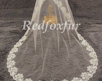 1T cathedral veil, Alencon lace wedding veil, ivory cathedral veil, wedding veil with crystals, lace wedding veil, wedding headpiece
