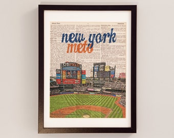 New York Mets Dictionary Art Print - Citi Field, Queens, NYC - Print on Vintage Dictionary Paper - Baseball Art - Gift For Him
