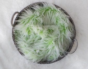 Large Frosted Green and White Faux Fur, Newborn Photo Prop, Mongolian Faux Fur Baby Prop, Ready to Ship, Basket Filler, Layering Blanket.