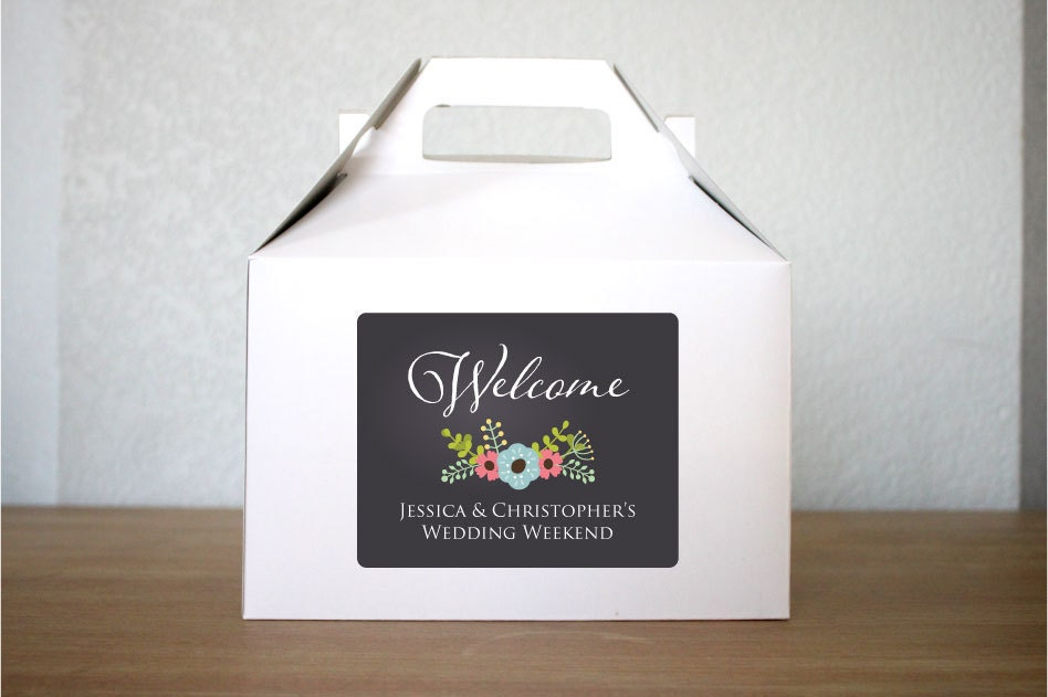 Chalkboard Style Wedding Welcome Box Gable Box by StickEmUpLabels
