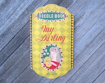 Antique My Darling Sewing Needle Book; Made in Japan - Old Fashioned Woman Illustration; Art Nouveau Graphics; Free Shipping/U.S.