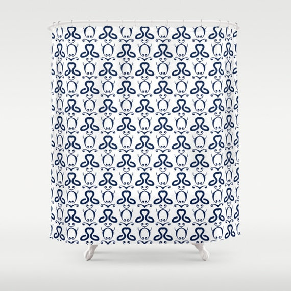 Shower curtain navy white turquoise white orange by for Navy and white bathroom accessories