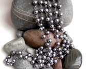 Repurposed Pearl Necklace - Grey Glass Beads