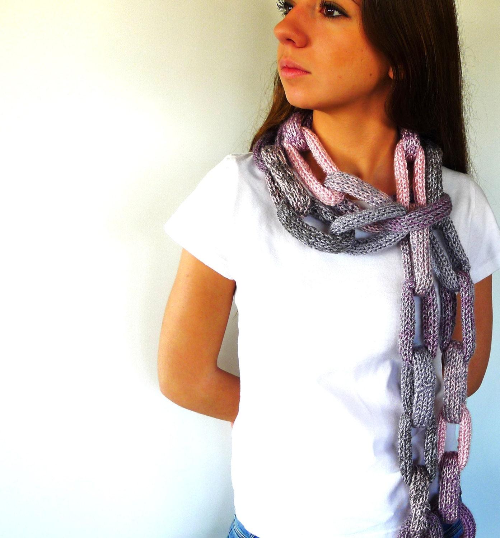 Bufanda con cadenas bufanda gris bufandas originales para - Bufandas de lana originales ...