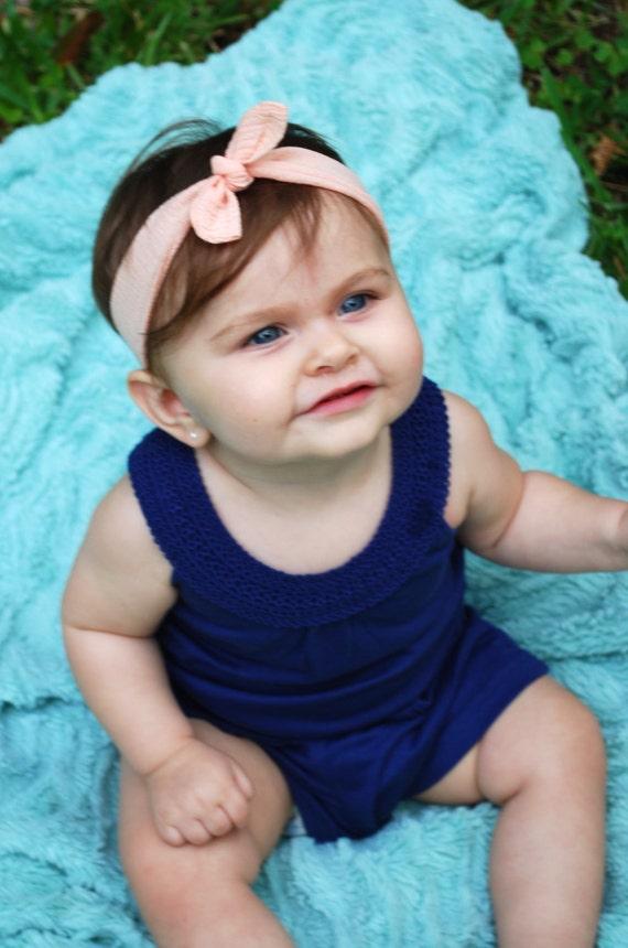SALE Peach Baby Knot Headband - Peach Baby Top Knot Headband - Peach Baby Stretch Headband - Peach Knit Headband - Boho Headband - Headband