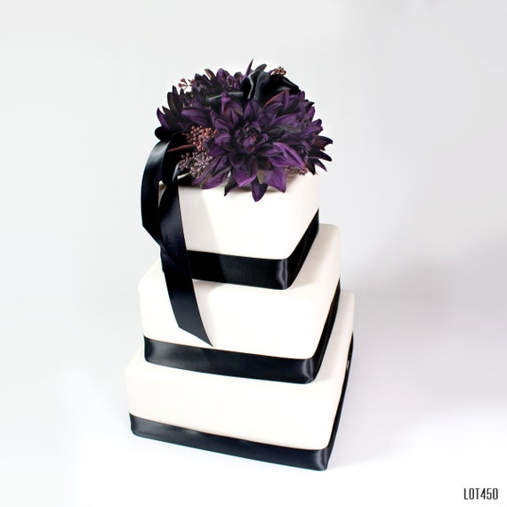 wedding cake silk flowers decorations wedding cake topper purple wedding decor cake decoration 24546