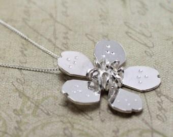 Handmade Sterling Silver Cherry Blossom Necklace - Cherry Blossom Jewelry - Silver Necklace