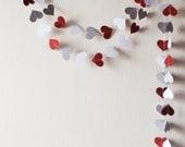 Red glitter Gray White Paper Heart Garland 10ft, Wedding garland,  nursery decor, Valentine Garland, Party decor