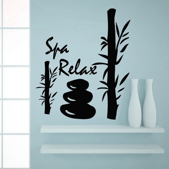 Items similar to wall decals spa relax bamboo decal vinyl - Stickers salon design ...