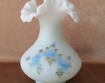 Fenton Ruffle Vase, Barely Blue Satin, Hand Painted, Custard Glass, Satin Blue Roses, M Kunam Artist, Shabby Style Vase,  Romantic Decor,