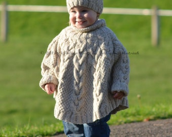 Knitting Pattern Cape Child : Knitting Pattern Temptation Poncho and Hat Set Toddler and