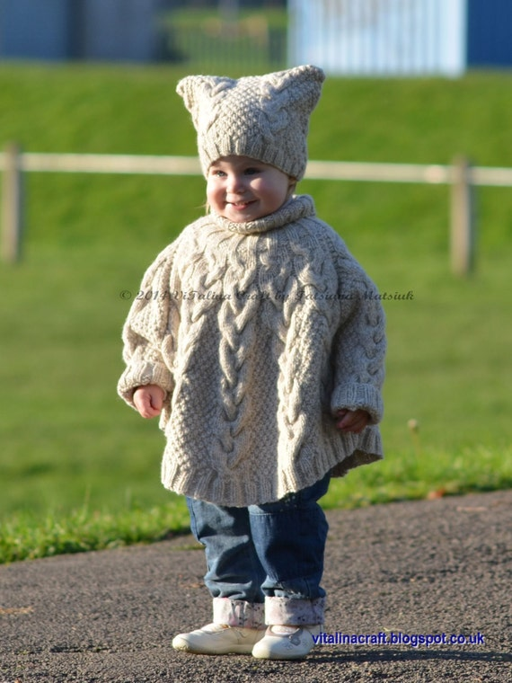 Knitting Pattern Vanilla Cloud Poncho and Hat Set Toddler