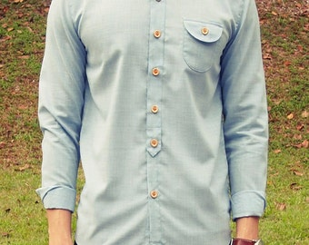 Mens Curve Collar Long-sleeve Shirt (Light Blue)