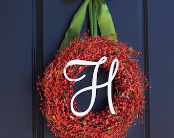 Thanksgiving Wreath - Fall Wreath - Berry Wreath - Monogram Wreath - Monogram Thanksgiving Wreath - Monogram Fall Wreath - Autumn Wreath