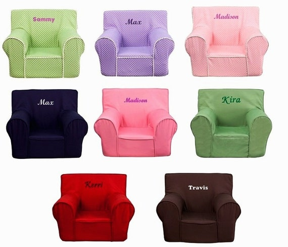 Kids personalized foam arm chairs for Monogrammed kids chair
