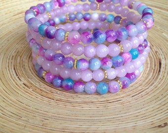 Cotton Candy Stack, turquoise and pink marbled Jade bracelet set of 5