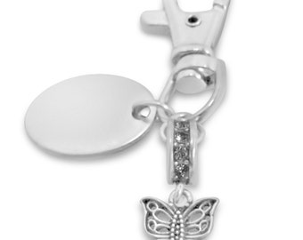 Custom engraved / personalised butterfly keyring with gift pouch - PL169