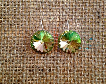Clover & Champagne Earrings, Lime Green and Golden Topaz Swarovski Crystal Earrings, Crystal Jewelry, Fern Green and Topaz Earrings