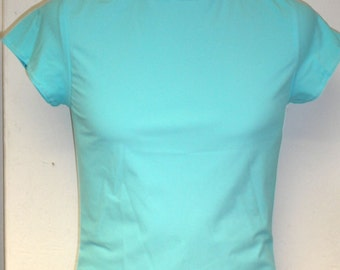 SALE Mens Funky Tight Fit Muscle T-Shirt M SMALL Matte Pale Turquoise Lycra Club Festival Dance Gym Sports Athletic Spandex Stretchy Top