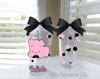 Super cute pig double wall tumbler - done in your choice of colors (up to 3)