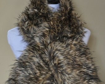 Gold and Brown Faux Fur Scarf