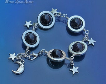 Blue Goldstone Galaxy Bracelet, Planets Stars and Moon Bracelet, Celestial Dark Blue Bracelet, Blue Goldstone Jewelry, Galaxy Jewelry