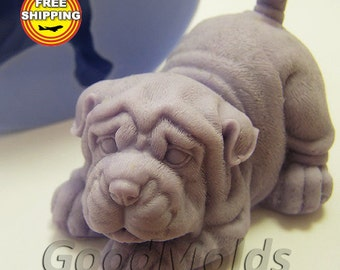 shar pei 3D soap mold silicone molds mold for soap mold of a puppy mold of the dog mold silicone mold animals mold free shipping