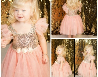 Little Girls Party Dress // Toddler Girls Birthday Dress // Sequin Dress