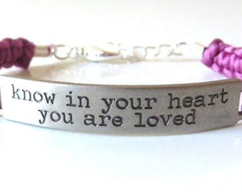 Inspriational Macrame Bracelet Know In Your Heart You Are Loved You Choose Your Cord Color(s)