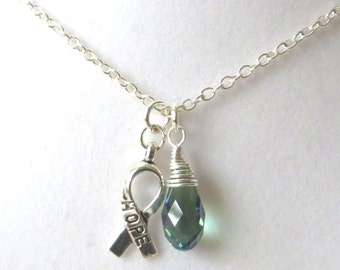 Emerald Green Awareness Ribbon  Hope Survivor Silver Ribbon Pendant Necklace You Choose Ribbon Design
