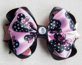 Stacked Minnie Mouse Boutique Hair bow,Disney Hair bow, Stacked Boutique Hair bow, Disney Minnie Mouse