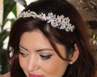 swarovski crystal wedding headband, wedding hair piece, bridal crystal headband, wedding headband bride, pearl crystal headpiece