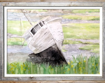 "LARGE Original Boat Painting - Original Watercolor Painting,""The Beautiful Wreck"", Nautical, Sail Boat, White, Beach Decor"