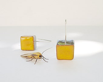 Dangle earrings yellow gold ceramic cubes, sterling silver, geometric earrings