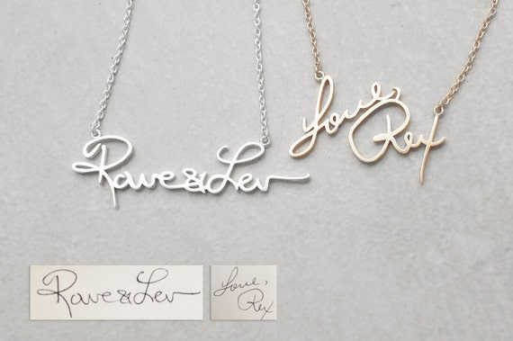 Actual Handwriting Necklace - Meaningful Personalized Signature Necklace -  Bridesmaid Jewelry - Christmas Gifts  PN02