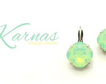 CHRYSOLITE OPAL 12mm Crystal Cushion Cut Drop Earrings Made With Swarovski Elements *Pick Your Finish *Karnas Design Studio *Free Shipping*