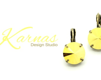 CRYSTAL METALLIC SUNSHINE 12mm Rivoli Drop Earrings Made With Swarovski Elements *Pick Your Finish *Karnas Design Studio *Free Shipping*