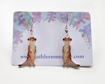 Meerkat drop animal earrings