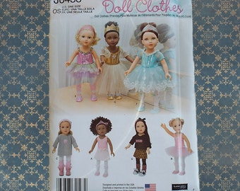"Simplicity 18"" American Girl Doll Pattern Dance Costumes J0438 / 1243"