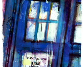 "Doctor Who Tardis Abstract Art Print, Archival Quality 13""x19"" **Express Shipping Available**"