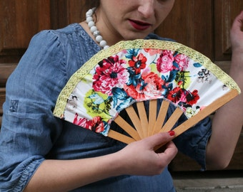 "Crafted Wooden Hand Fan , ""Perfect Bloom"" fabric"