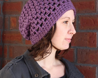 Purple Slouch Hat - Slouchy Beanie - Crochet Slouch Hat - Winter Slouch Hat - Winter Hat - Women's Hat - Women's Slouchy Hat