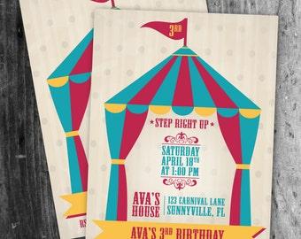 Circus Theme Birthday Invite  - Digital file/Printable