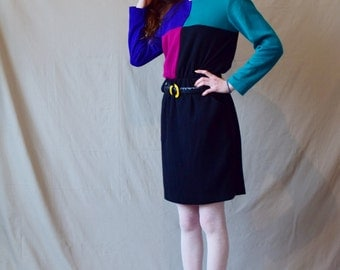 Vintage 80s color block dress Black blue green magenta Long sleeves Knee length XS/S 1980s