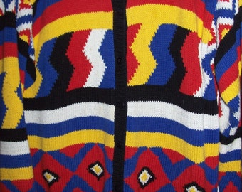 Southwest Indian Navajo inspired cotton and ramie cardigan sweater XL Brilliant colors