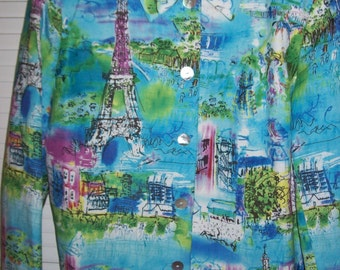 Vintage Coldwater Creek Eiffel Tower Jacket. French impressionistic scenes-beautiful