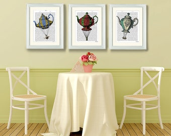 Collection 3 Flying Teapot prints,  Balloon Illustration wall art wall decor wall hanging balloon picture, hot air balloon decor