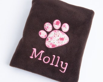 Personalised Embroidered Fleece Pet Puppy/Kitten Dog/Cat Blanket With Your Pets Name