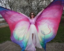 Belly dance, hand painted silk wings. Made to order - multicolored, ombre, pattern. Unique handmade wings in your colors